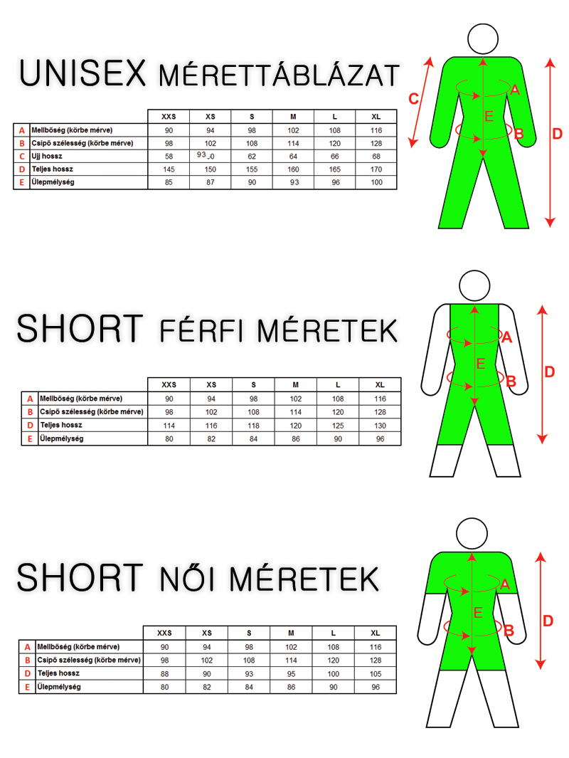 kapucnis overall mérettáblázat